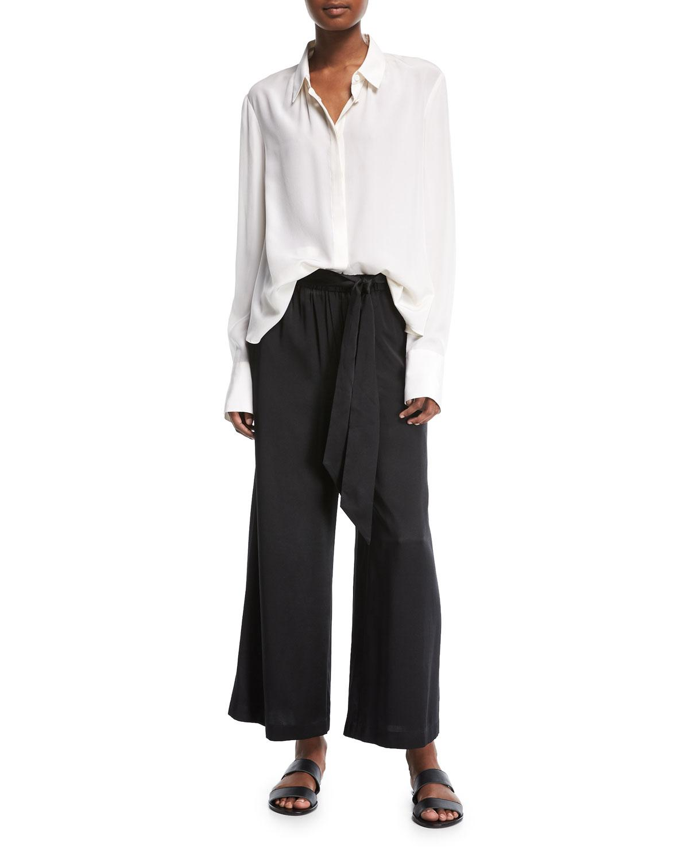 ff25e88dedf5 Lyst - FRAME Wide-leg Cropped Easy Silk Pants in Black