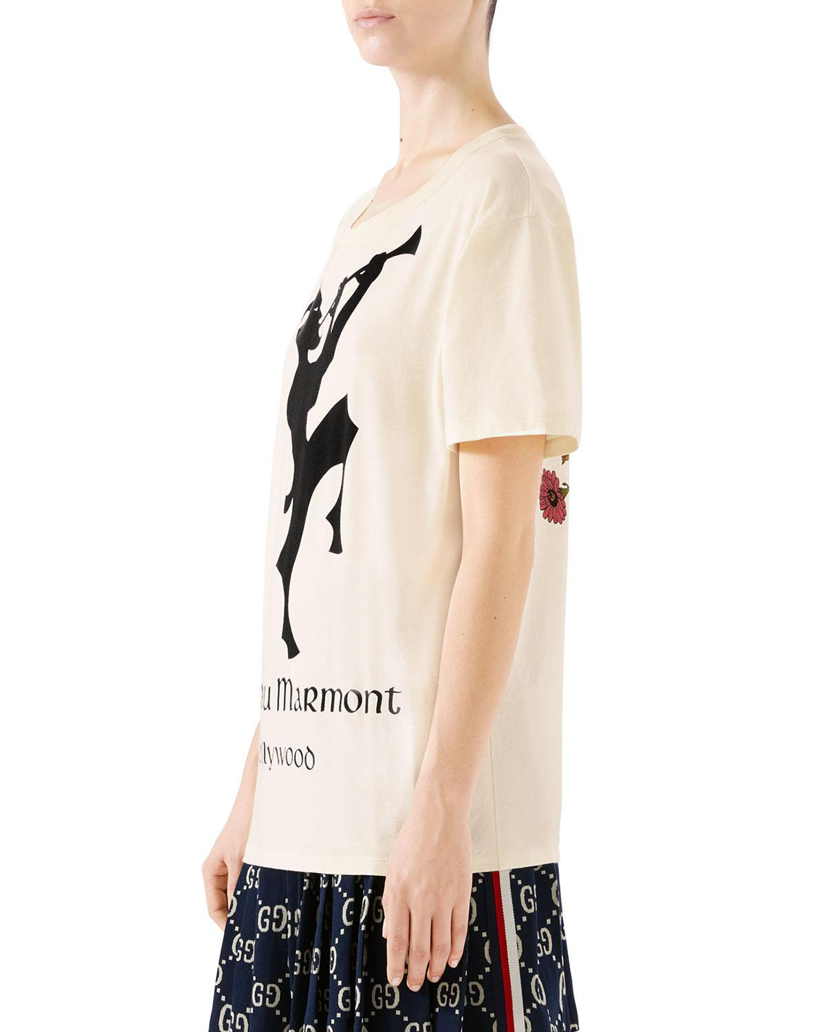 7577a4705 Gucci Oversized Chateau Marmont T-shirt in White - Save 27% - Lyst