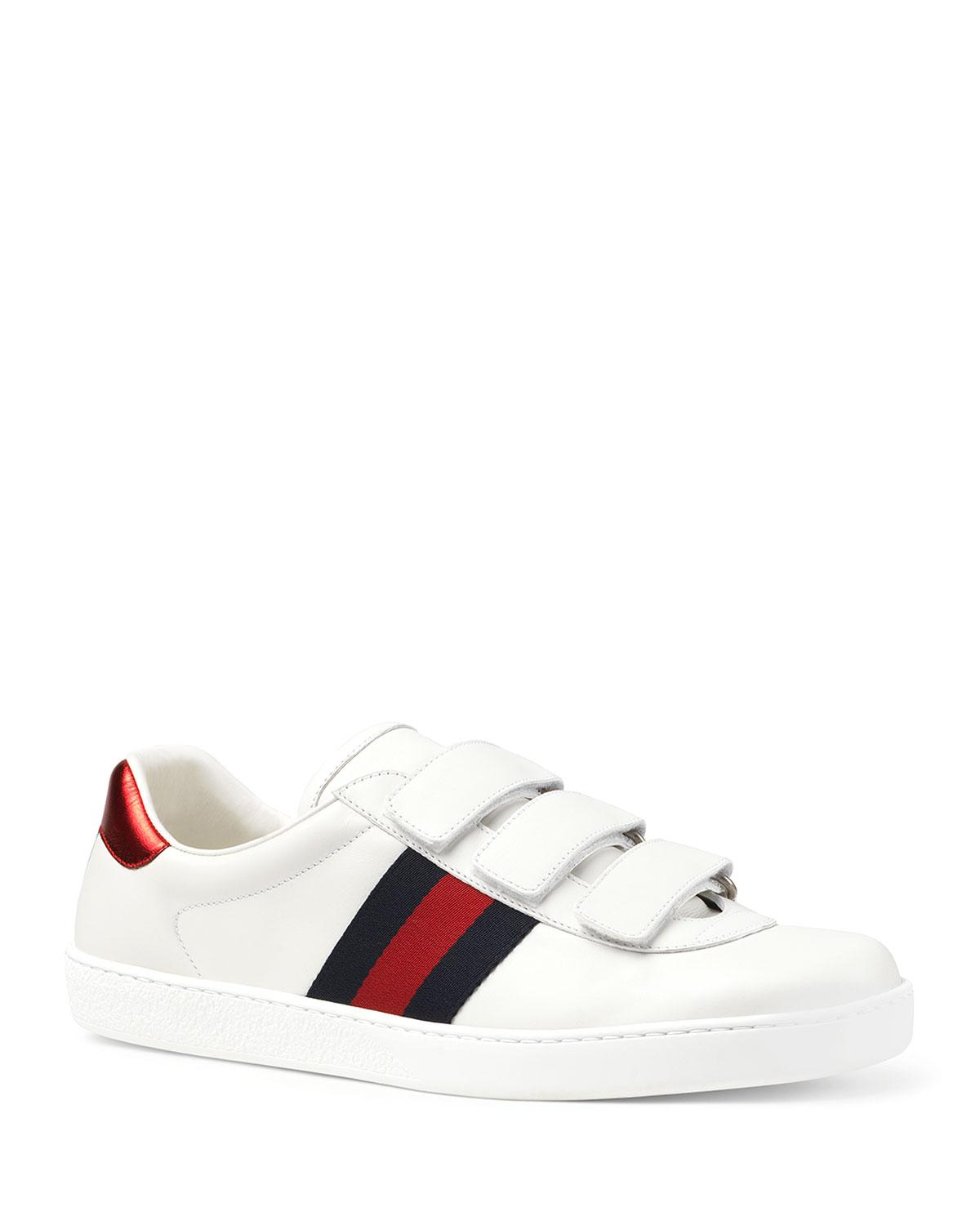 7f0f2ae1ea1 Lyst - Gucci Men s Leather Grip-strap Sneakers With Web in White for Men