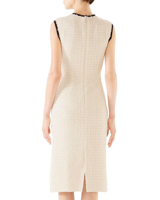 ec3dd2c3e56 Gucci Rose-front Bow-neck Gauze Tweed Midi Dress - Lyst
