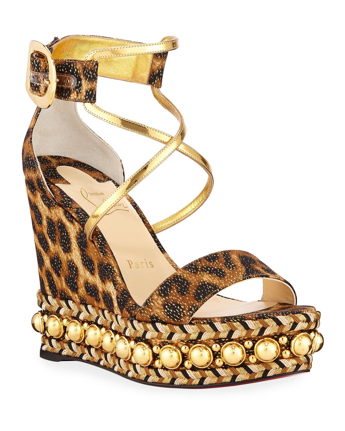 3457ec9e1ba9 Christian Louboutin. Women s Brown Chocazeppa Leopard Wedge Red Sole Espadrille  Sandals
