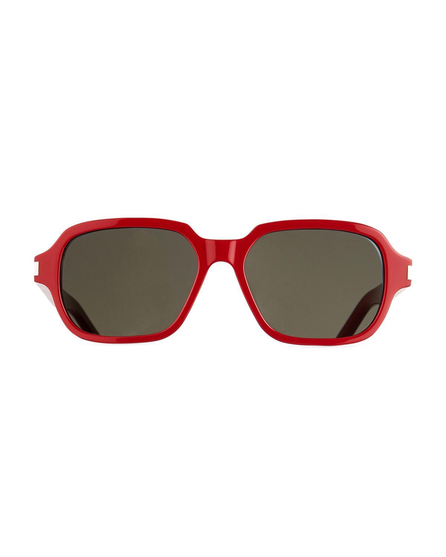 82a28082c3a Lyst - Saint Laurent Men s Sl 292 Rectangle Acetate Sunglasses in Red for  Men
