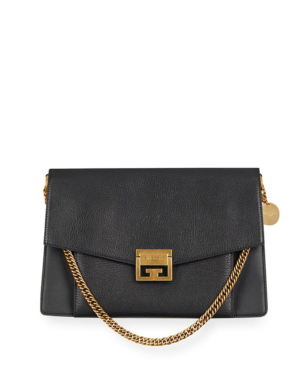1a77f7cc09ad Lyst - Givenchy Gv3 Medium Pebbled Leather Shoulder Bag - Golden ...