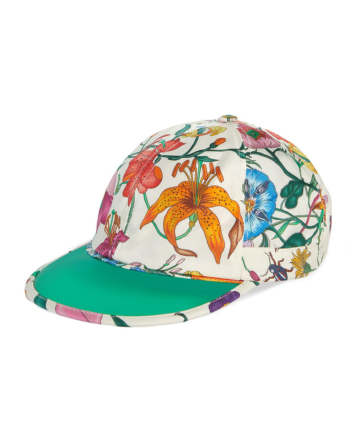 58faad21a19ca Lyst - Gucci Men s Flora-print Silk Baseball Hat in White for Men
