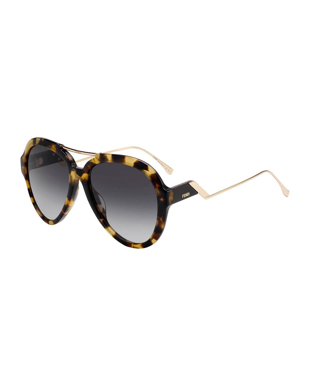a7625f92342 Fendi - Gray Acetate   Metal Aviator Sunglasses - Lyst. View fullscreen