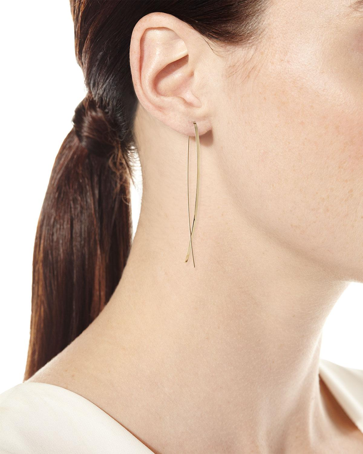 Lyst Lana Jewelry 14k Elite Narrow Upside Down Hoop Earrings In Metallic