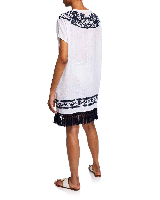 cce41e2072 Lyst - Tory Burch V-neck Embroidered Beach Caftan W/ Tassel Hem in White