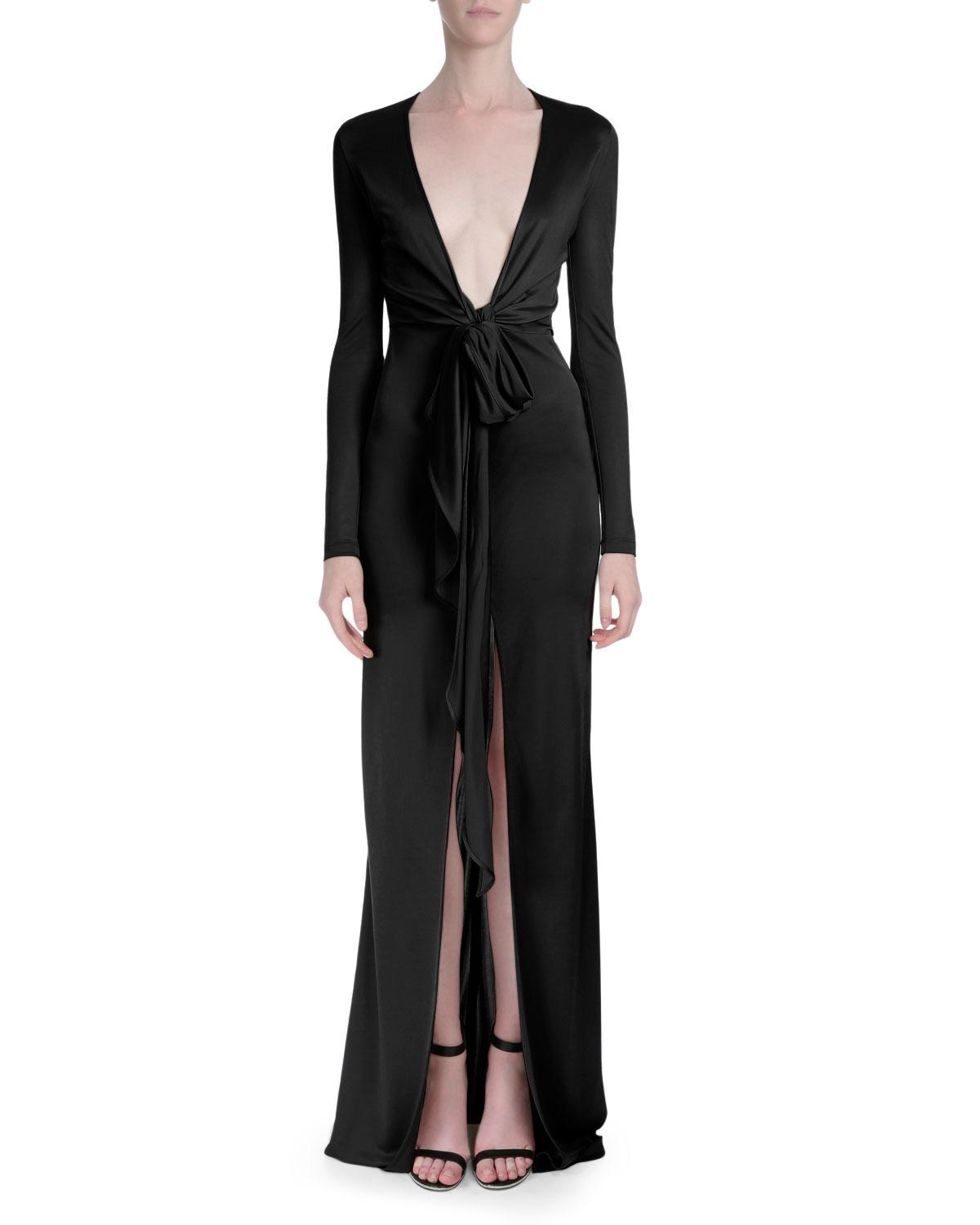 Lyst - Givenchy Plunging-v Long-sleeve Gown in Black