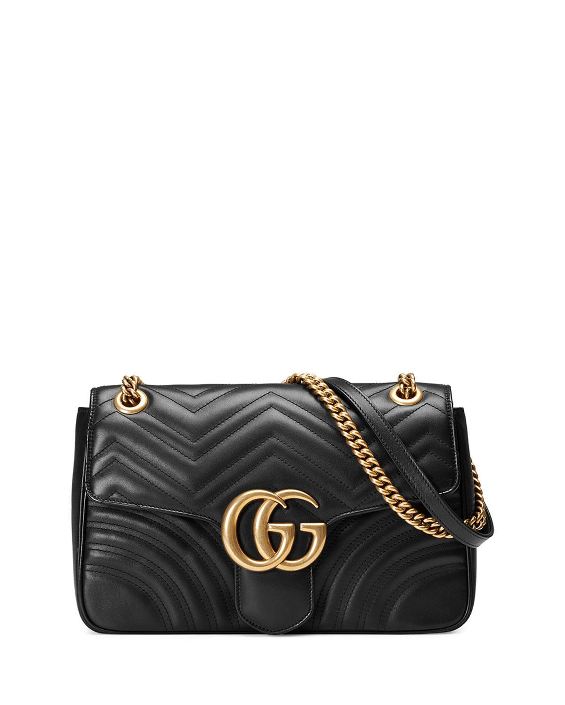 Lyst - Gucci GG Marmont Medium Matelassé Shoulder Bag in Black ... c0e409c9a2f99