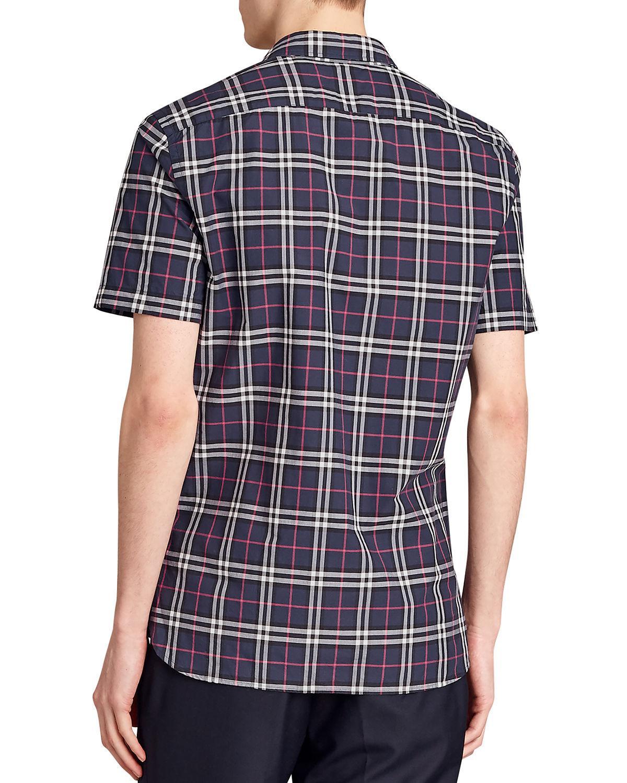 6ff6d293b6cd Burberry Alexander Check Short-sleeve Sport Shirt in Blue for Men - Lyst