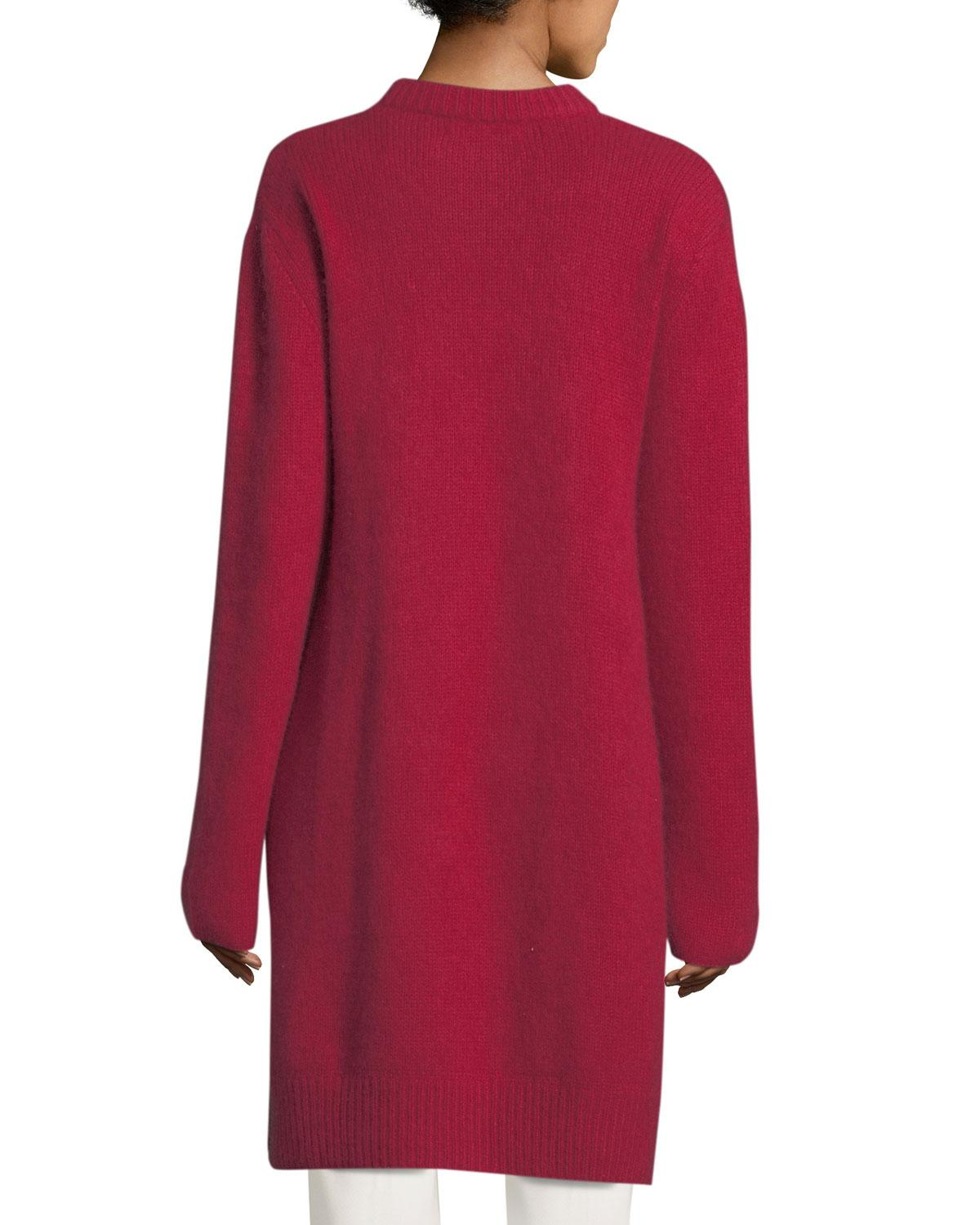 Ryan roche Long Side-slit Tunic Sweater in Red | Lyst
