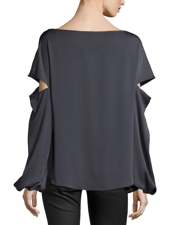 7372f0162ee7a Lyst - MILLY Dahlia Split Bishop-sleeve Stretch-silk Top in Gray