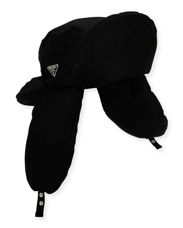 12c92aa2066 Prada - Black Men s Nylon Aviator Hat for Men - Lyst. View fullscreen