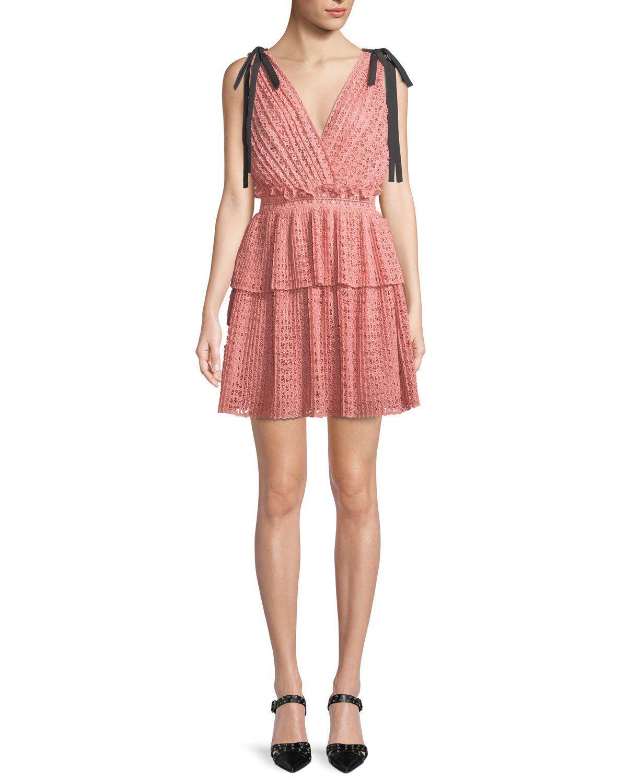 f1c631dd3d7ef Self-Portrait Cutwork Mini Dress in Pink - Save 48% - Lyst