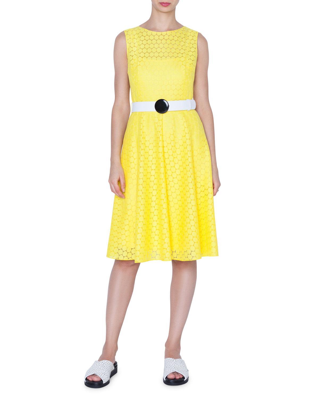 93b59c5ae1 Lyst - Akris Punto Hexagonal Lace A-line Dress W  Belt in Yellow