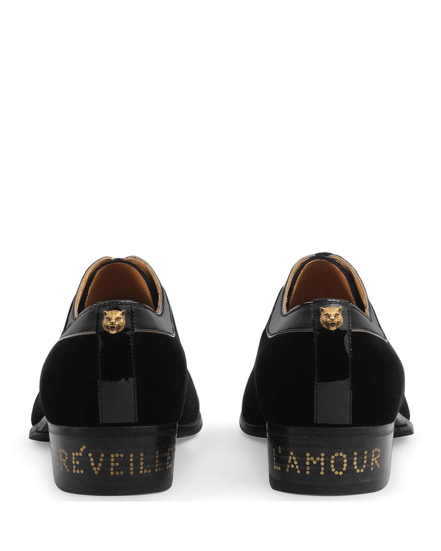3488763cfa6 Gucci - Black Men s Thune Velvet Lace-up Shoes W  Patent Leather Trim for.  View fullscreen