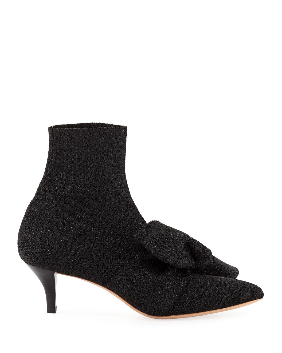 376a9346a6d7 Lyst - Loeffler Randall Kassidy Stretch Kitten-heel Booties With Bow in  Black
