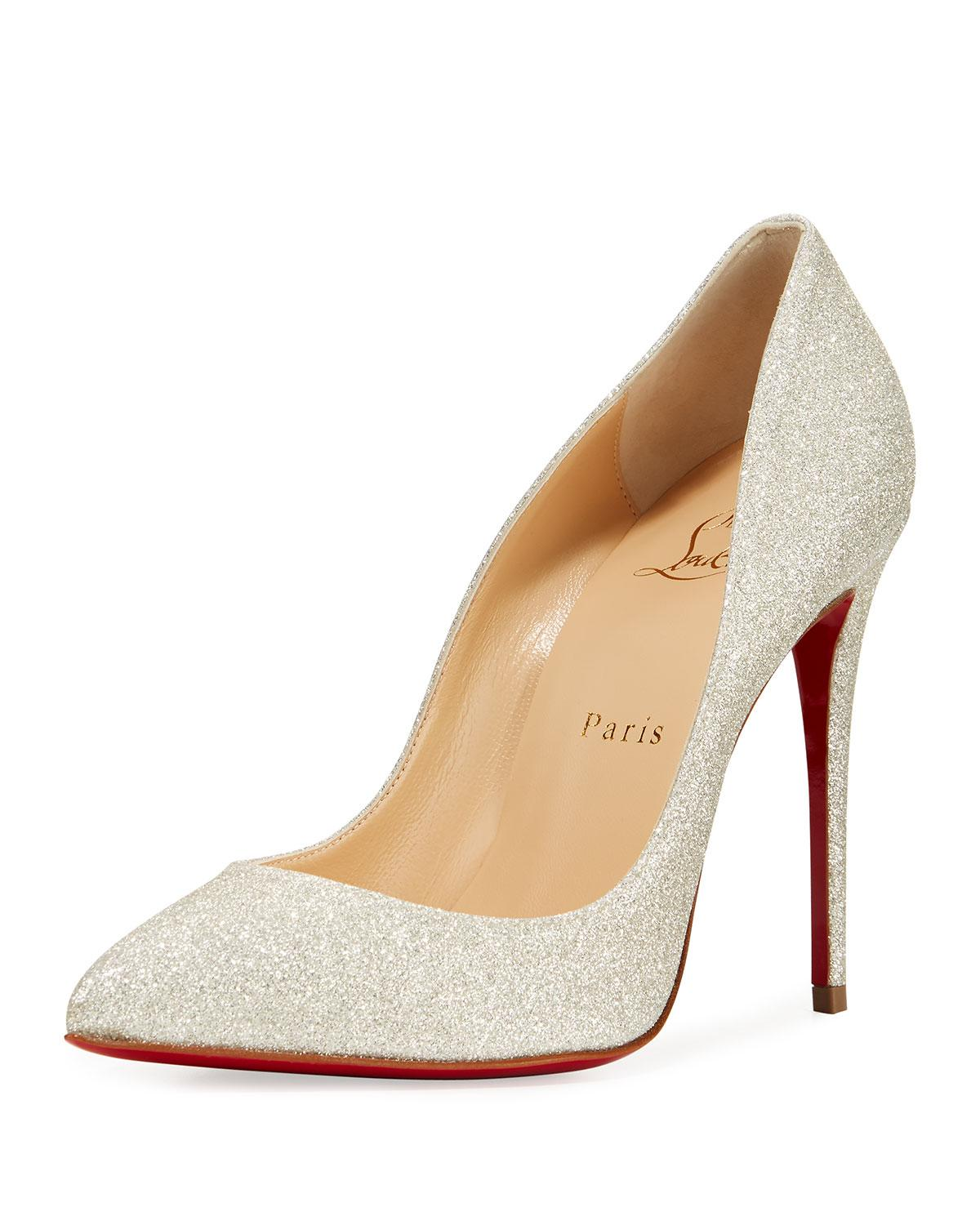 bb617ddb4b0b Christian Louboutin. Women s White Pigalle Follies Glittered Red Sole Pumps