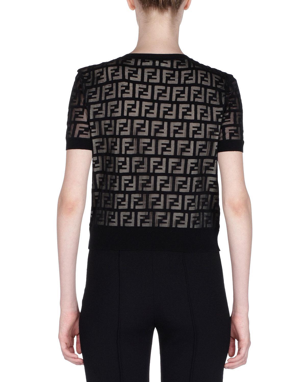 8c912e5aa5f1f Lyst - Fendi Short-sleeve Logo-devore Knit Top in Black