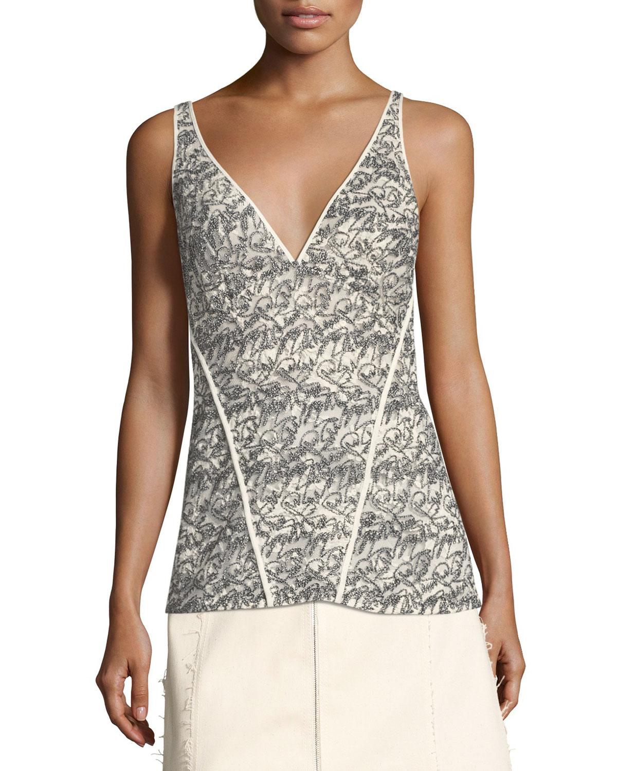 11048614eacb3 Lyst - Derek Lam Lace V-neck Cami Top in White