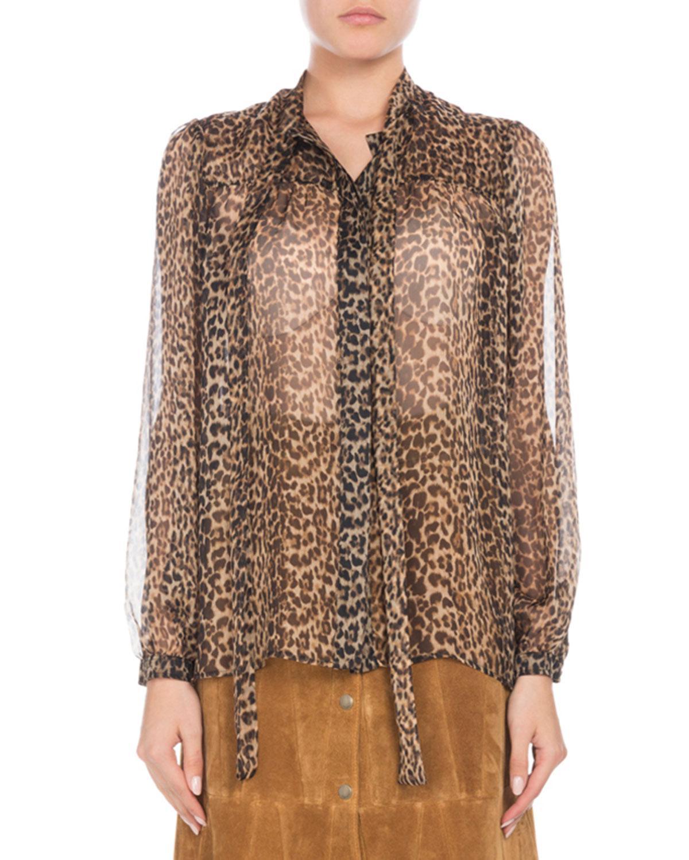 afb3a07e Saint Laurent. Women's Brown Long-sleeve Button-down Leopard-print Sheer  Silk Blouse ...