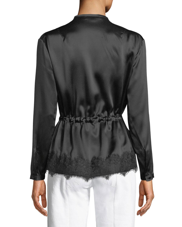 92a467551d113 Lyst - Rag   Bone Tomlin V-neck Long-sleeve Satin Silk Shirt in Black -  Save 24%