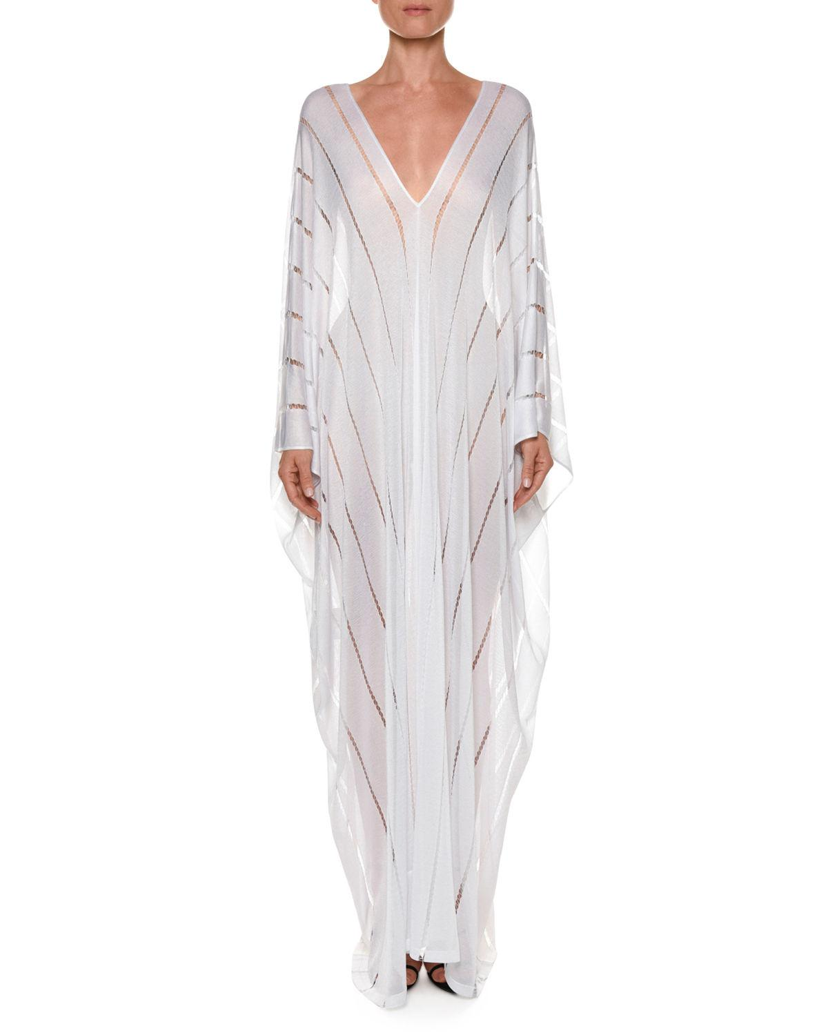 ca5de3c88c3 Tom Ford Long Sheer Open-side Caftan in White - Lyst