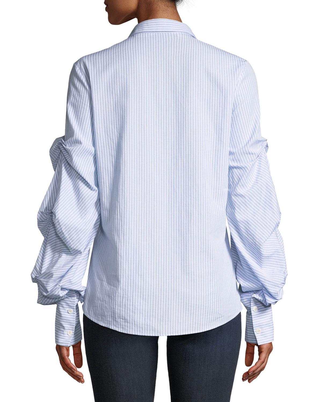 65b62669 Jonathan Simkhai. Women's Blue Striped Button-down Top With Puff Sleeves