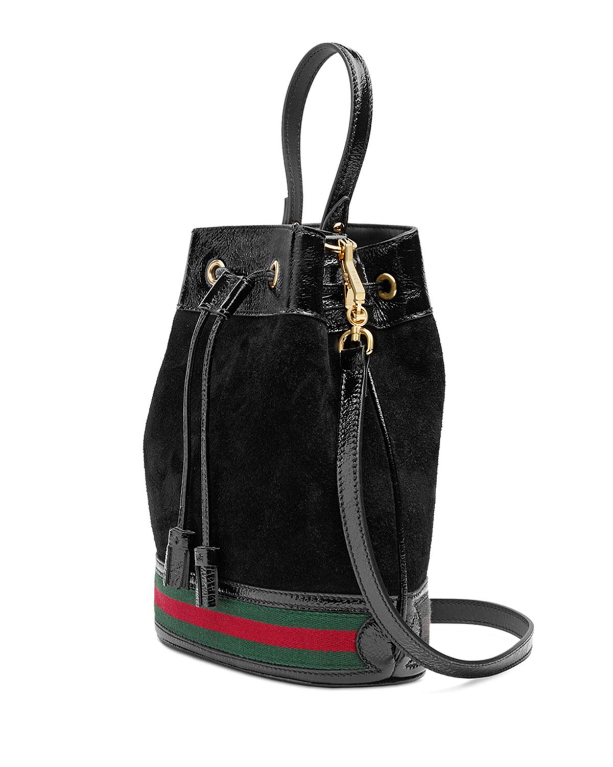 Lyst - Gucci Mini Suede Bucket Bag in Black b232ec3eea59c