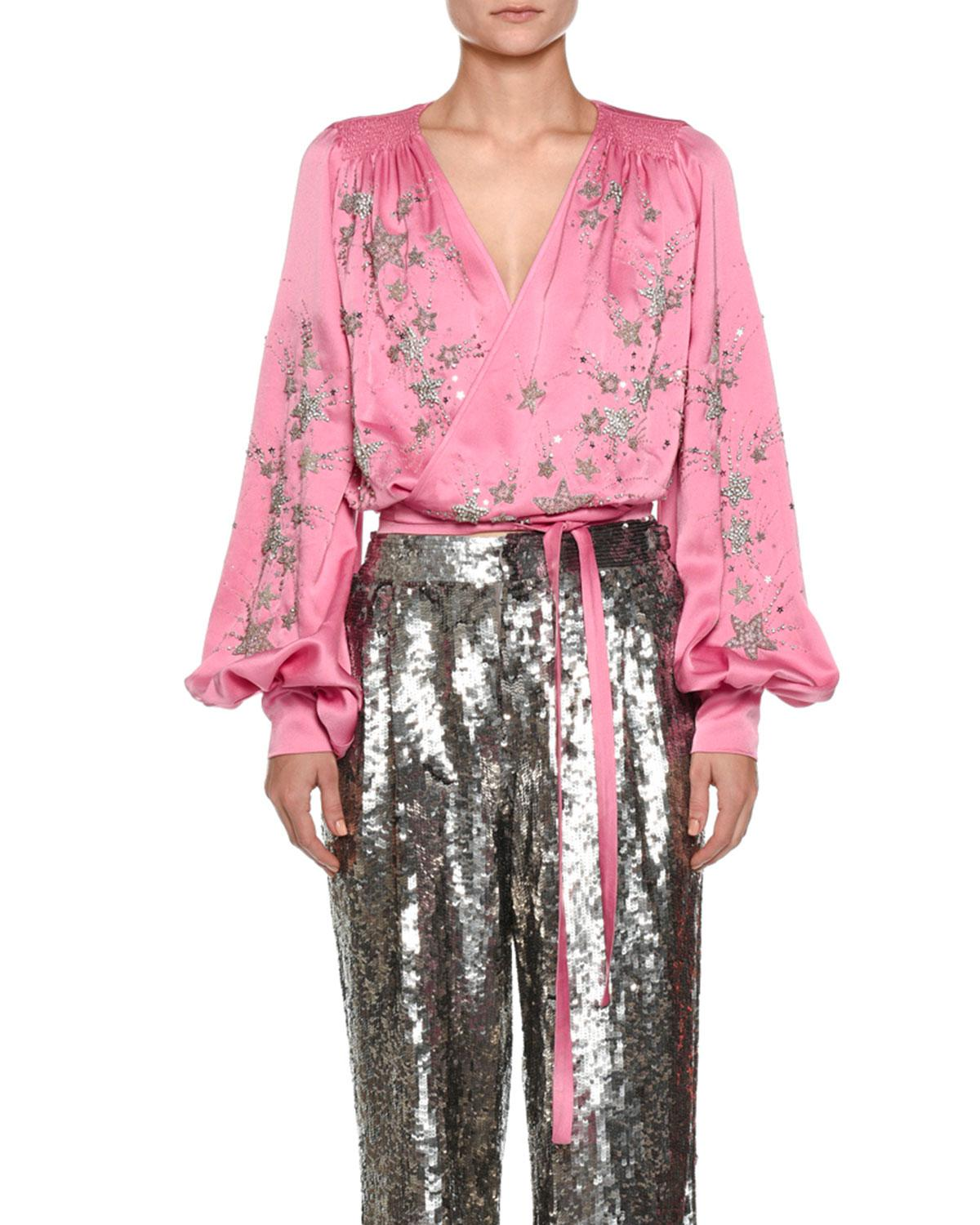 68f2b06574b814 Attico Star-embroidered Satin Wrap Blouse in Pink - Lyst