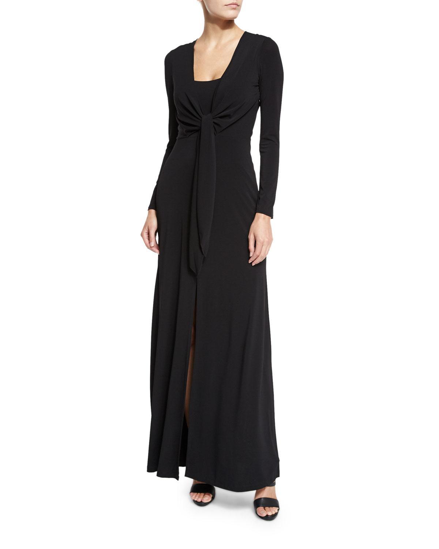 82dee6db6fc1 Alice + Olivia Salina Tie-front Long-sleeve Maxi Dress in Black - Lyst
