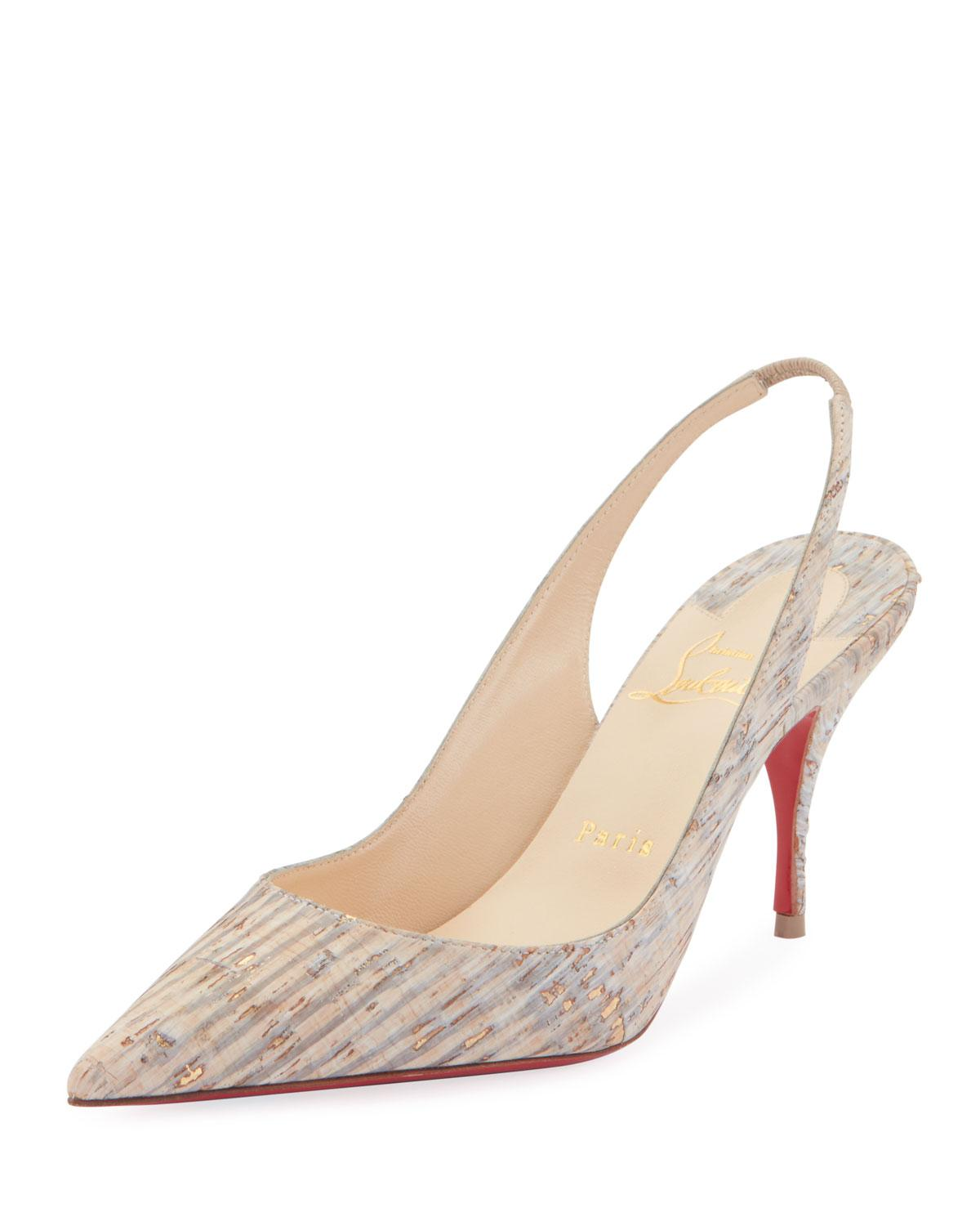 a2ff07f21cc8 Lyst - Christian Louboutin Clare Cork Red Sole Slingback Pumps in ...