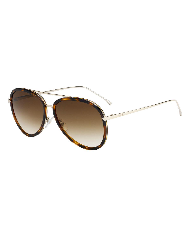 551b412221 Fendi Trimmed Gradient Aviator Sunglasses in Black - Lyst