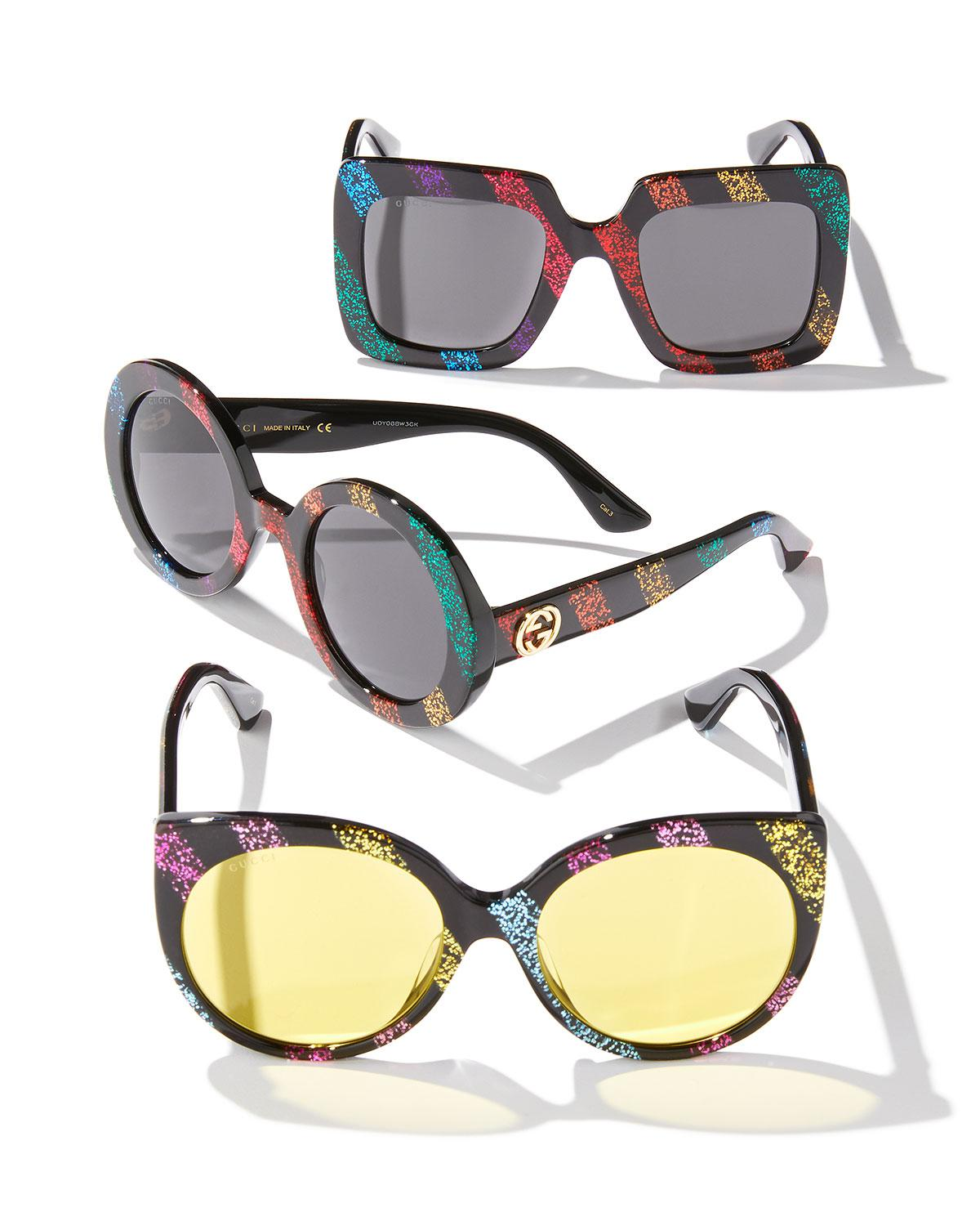 ee101d8301 Lyst - Gucci Glitter Striped Cat-eye Sunglasses