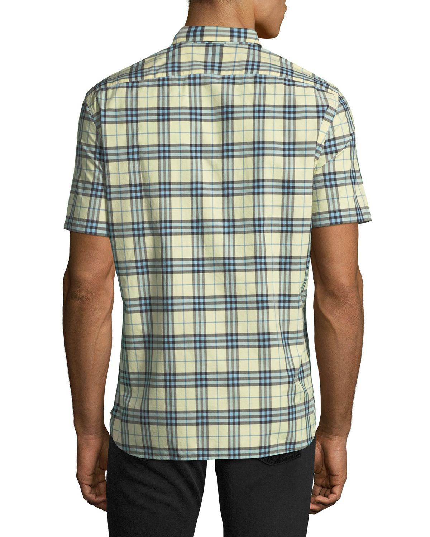 c48440f07968 Lyst - Burberry Alexander Check Short-sleeve Sport Shirt in Green for Men