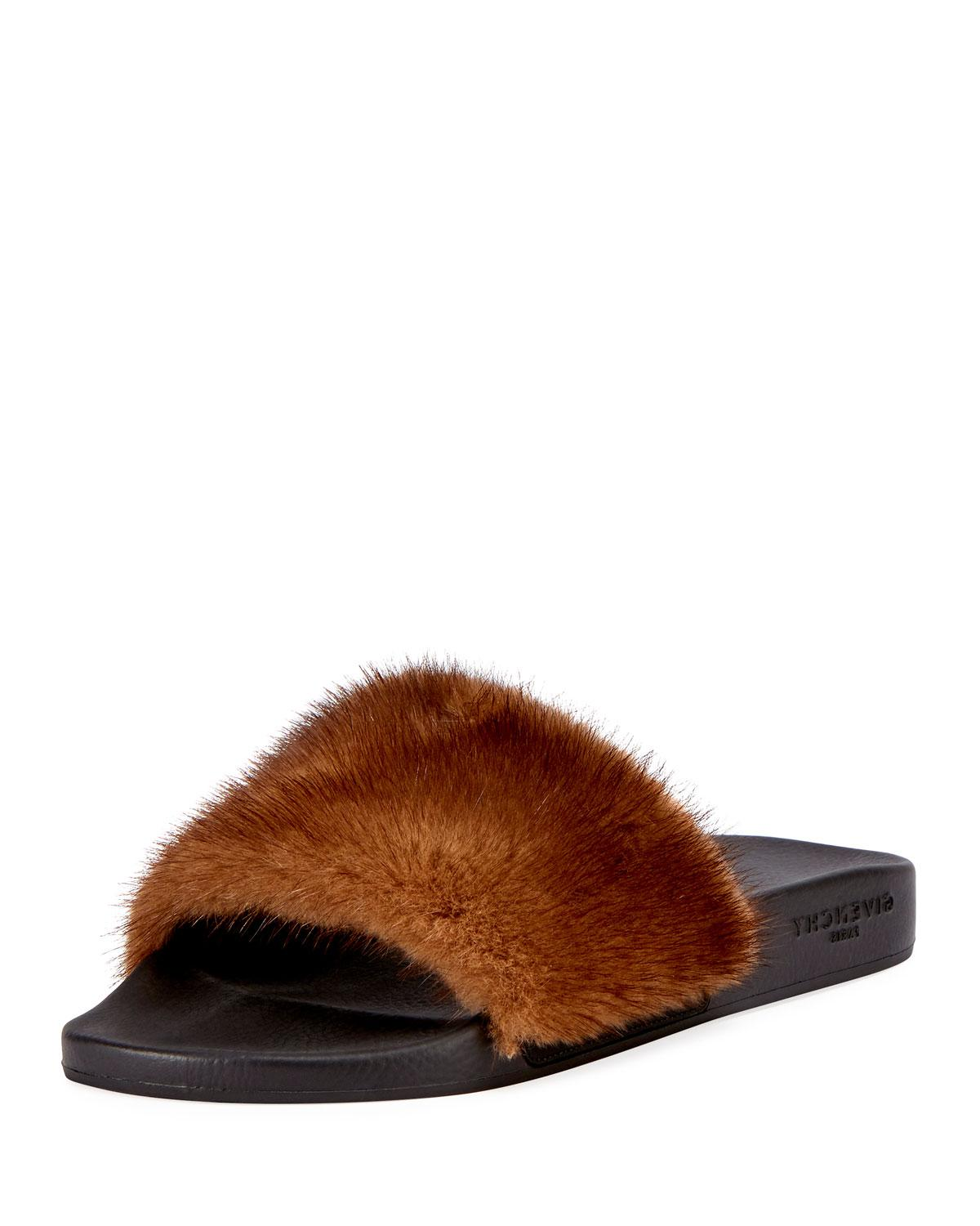 2b5293d6af34 Givenchy mens mink fur slide sandal in brown for men lyst jpg 1200x1500  Givenchy mink slides