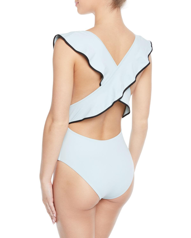 1535fca19090 Lyst - Marysia Swim Sedona Ruffle Cross-back One-piece Swimsuit in Blue