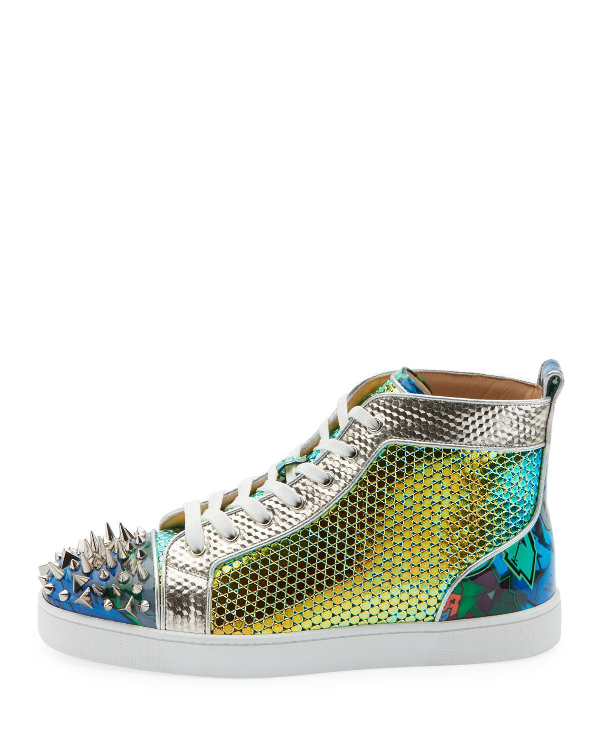 98a083aa390 Lyst - Christian Louboutin Men s Spiked Metallic Holographic Mid-top  Sneakers in Green