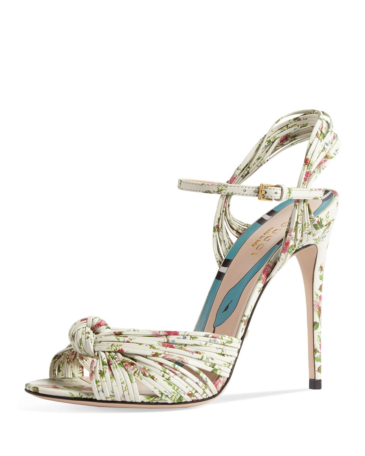 b7565ac3f Gucci Allie Floral-print Leather Sandals in White - Lyst
