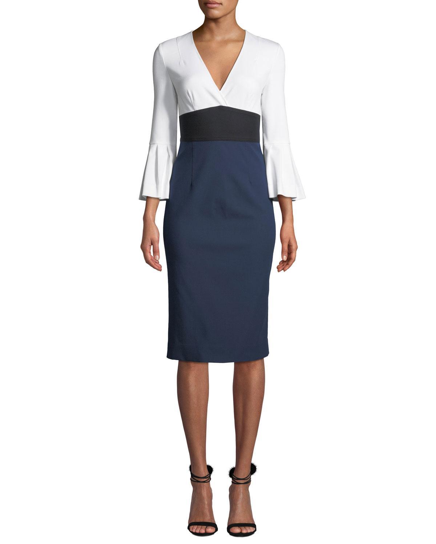 620bb063599 Diane von Furstenberg. Women's Black Lauren Colorblock Bell-sleeve Midi  Dress