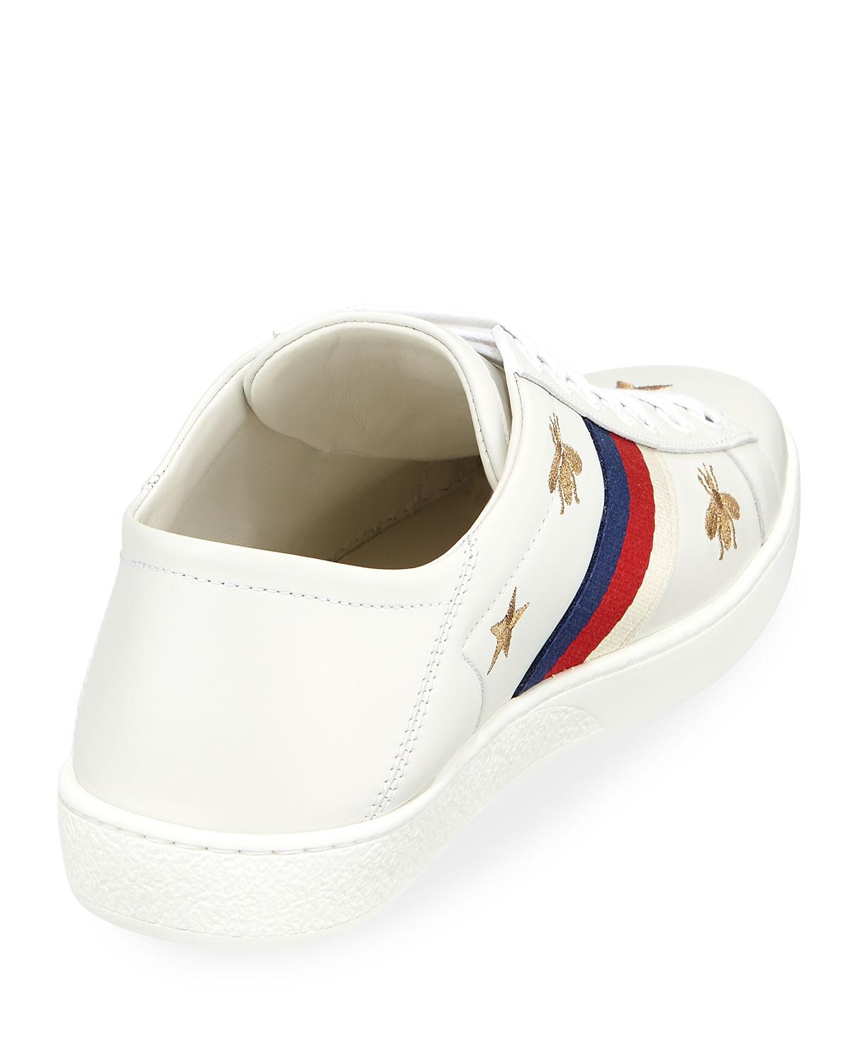 47b21ba63cf Lyst - Gucci Ace Star   Bee Fold-down Sneakers in White