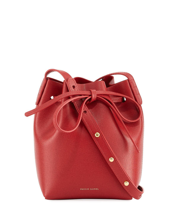8742c1c00a5f Mansur Gavriel - Red Mini Mini Saffiano Leather Bucket Bag - Lyst. View  fullscreen