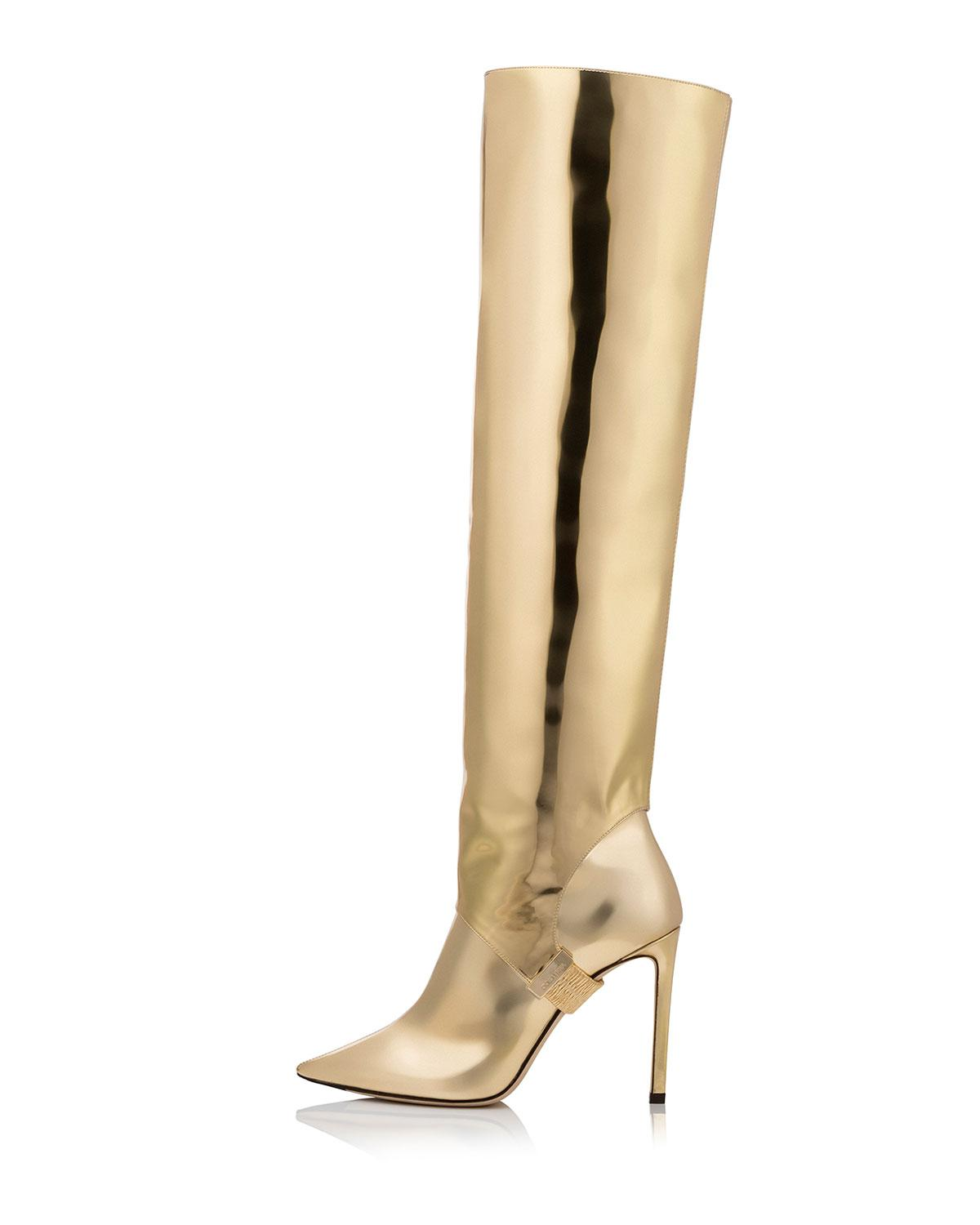 c2094ddc10d1 Lyst - Jimmy Choo Hurley Liquid Mirror Leather Two-piece Knee Boots