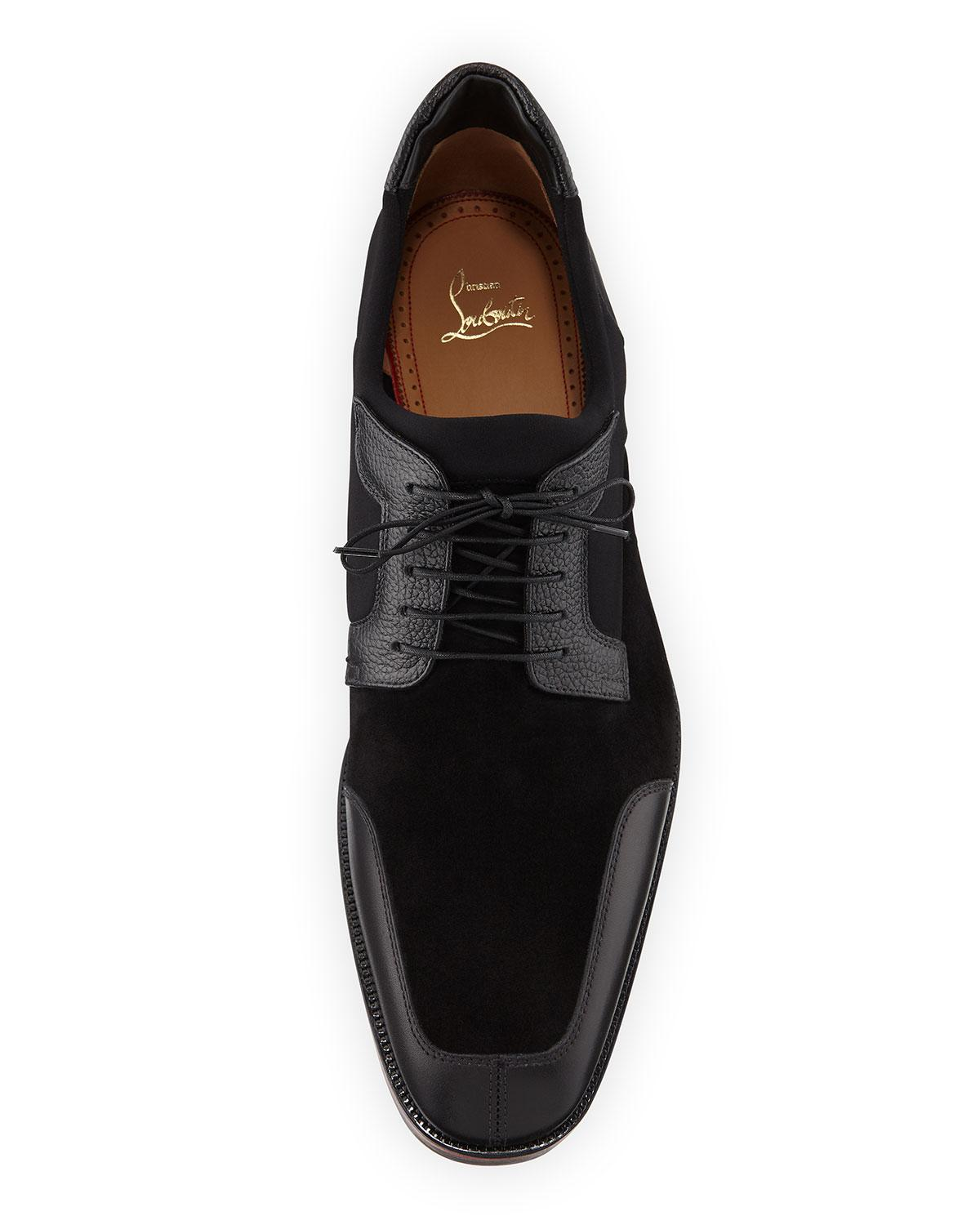 556d578c2f0 Lyst - Christian Louboutin Men s Simon Neoprene leather Lace-up Shoes in  Black for Men