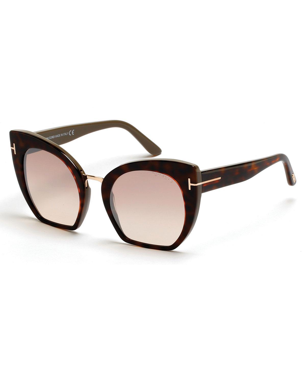 3d2c9621b02d Tom Ford - Brown Samantha Cropped Cat-eye Sunglasses - Lyst. View fullscreen