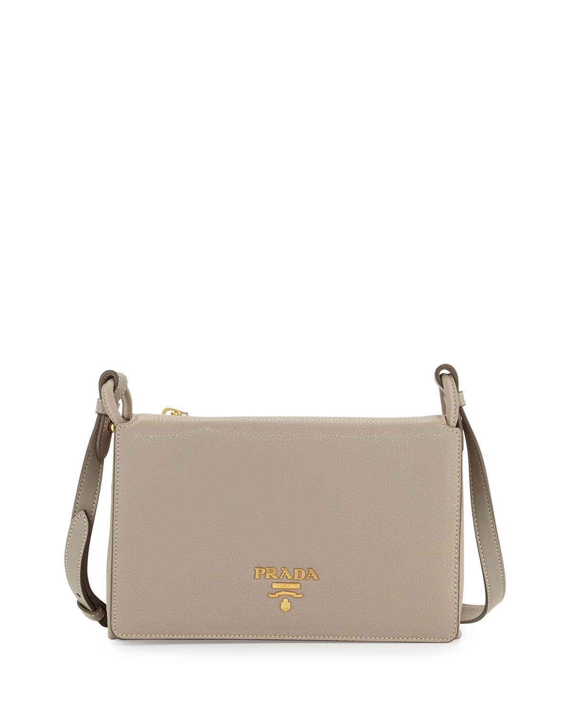9a2751ca86c74 Prada - Gray Vitello Daino Double-gusset Shoulder Bag - Lyst. View  fullscreen