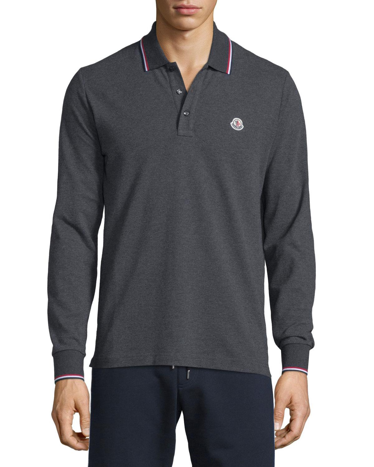 e49764000 Lyst - Moncler Tipped Long-sleeve Polo Shirt in Gray for Men
