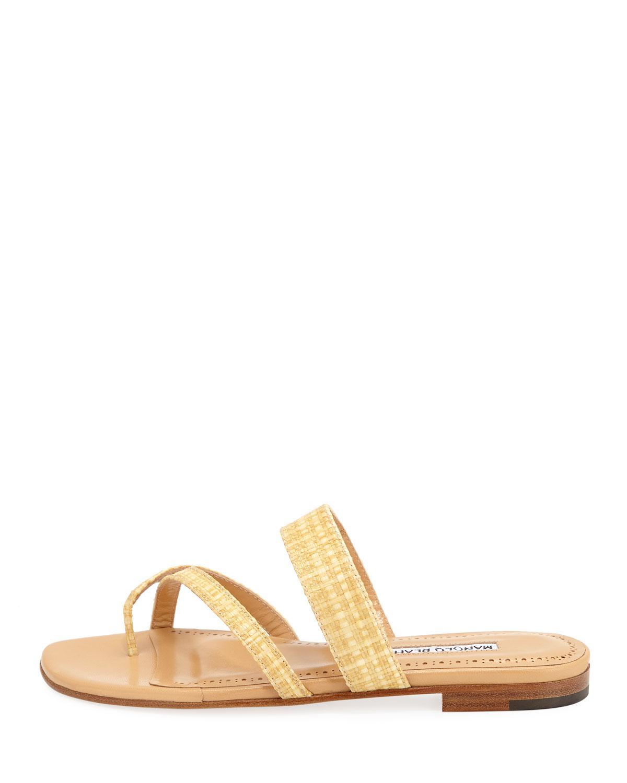 b64ce40c7c6f Manolo Blahnik Susa Woven Rafia Sandals in Natural - Lyst
