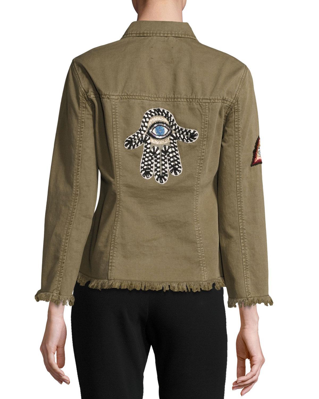 174e06fc7a Lyst - Cinq À Sept Cedar Denim Shirt Jacket With Logo Patches in Green
