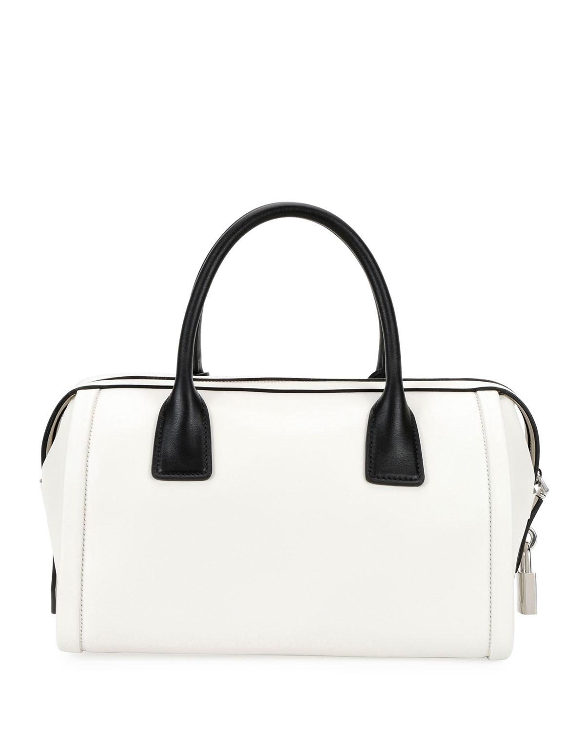 8305bde83b3d Lyst - Prada Colorblock Leather Side-buckle Duffel Bag in White